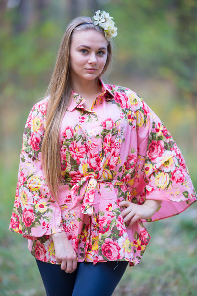 """Oriental Delight"" kaftan Top in Rosy Red Posy pattern"