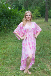 """High Low Wind Flow"" kaftan in Ombre Fading Leaves pattern"