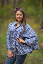 """Oriental Delight"" kaftan Top in Tribal Aztec pattern"