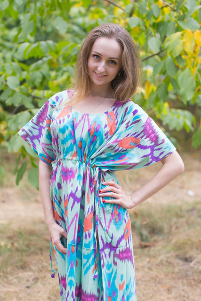 """Side Strings Sweet"" kaftan in Ikat Aztec pattern"