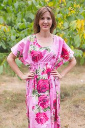 """Side Strings Sweet"" kaftan in Large Fuchsia Floral Blossom pattern"