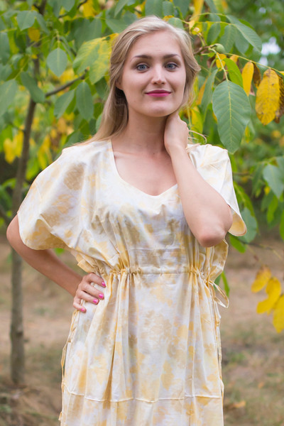 """Side Strings Sweet"" kaftan in Ombre Fading Leaves pattern"