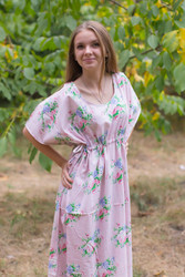 """Side Strings Sweet"" kaftan in Pink Peonies pattern"