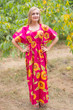 """Side Strings Sweet"" kaftan in Sunflower Sweet pattern"