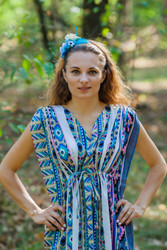 """Magic Sleeves"" kaftan in Aztec Geometric pattern"