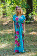 """Magic Sleeves"" kaftan in Large Fuchsia Floral Blossom pattern"