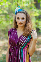 """Magic Sleeves"" kaftan in Multicolored Stripes pattern"