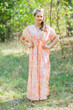 """Magic Sleeves"" kaftan in Ombre Fading Leaves pattern"