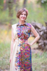 """Cool Summer"" kaftan in Cheerful Paisleys pattern"
