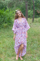"""High Low Wind Flow"" kaftan in Vintage Chic Floral pattern"