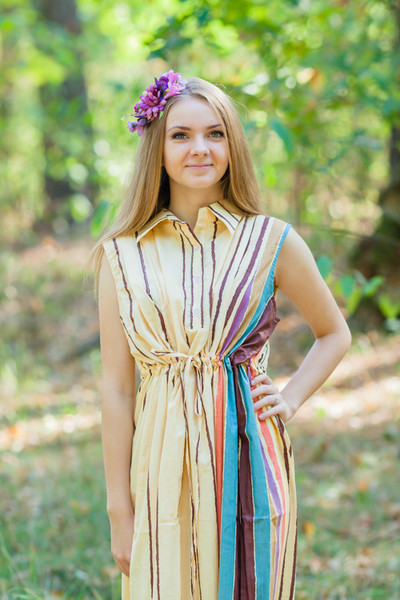 """Cool Summer"" kaftan in Multicolored Stripes pattern"