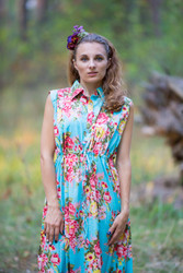 """Cool Summer"" kaftan in Rosy Red Posy pattern"