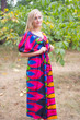 """Cut-out Cute"" kaftan in Glowing Flame pattern"
