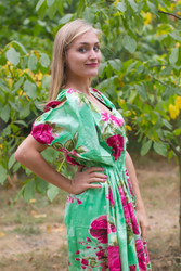 """Cut-out Cute"" kaftan in Large Fuchsia Floral Blossom pattern"