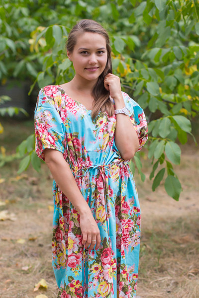 """Cut-out Cute"" kaftan in Rosy Red Posy pattern"