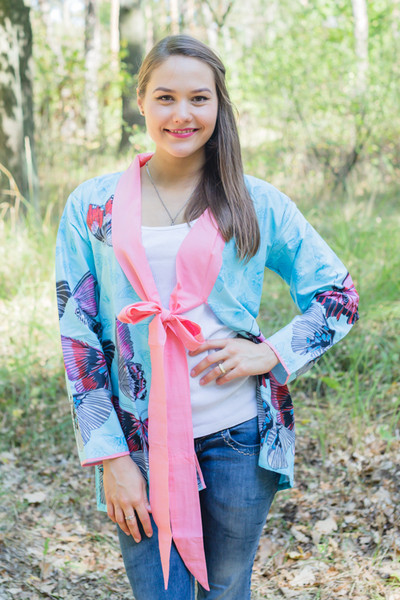 """Bow and Me"" Kimono jacket in Butterfly Baby pattern"