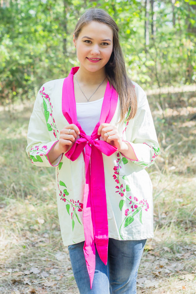 """Bow and Me"" Kimono jacket in Climbing Vines pattern"