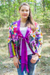 """Bow and Me"" Kimono jacket in Floral Watercolor Painting pattern"