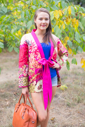 """Bow and Me"" Kimono jacket in Vibrant Foliage pattern"