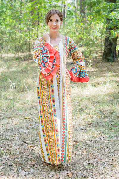 """Frill lovers"" kaftan in Aztec Geometric pattern"