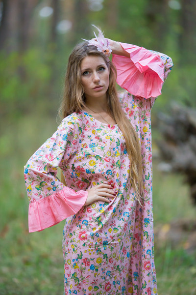 """Frill lovers"" kaftan in Happy Flowers  pattern"