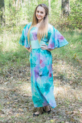 """Beauty, Belt and Beyond"" kaftan in Watercolor Splash pattern"