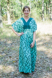 """Flowing River"" kaftan in Chevron pattern"
