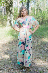 """Unfurl"" kaftan in Flamingo Watercolor pattern"