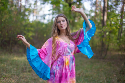 """Pretty Princess"" kaftan in Watercolor Splash"