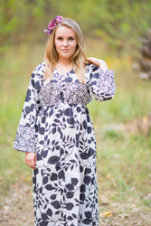 """Button me down"" kaftan in Classic White Black pattern"