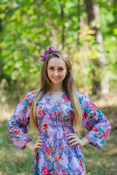 """Button me down"" kaftan in Cute Bows pattern"