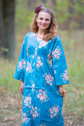 """Button me down"" kaftan in Faded Flowers pattern"