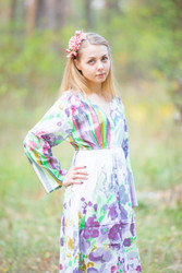 """Button me down"" kaftan in Floral Watercolor Painting pattern"