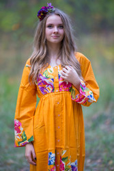 """Button me down"" kaftan in One Long Flower pattern"
