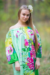 """Serene Strapless"" kaftan in Jungle of Flowers pattern"