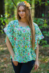 """Summer Celebration"" Tunic Dress kaftan in Happy Flowers pattern"