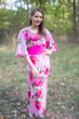 """Beauty, Belt and Beyond"" kaftan in Large Fuchsia Floral Blossom pattern"
