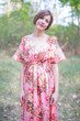 """Side Strings Sweet"" kaftan in Rosy Red Posy pattern"