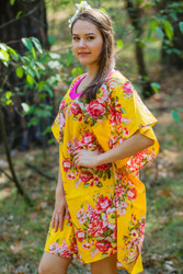 """Summer Celebration"" kaftan in Rosy Red Posy pattern"