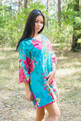 """Sun and Sand"" Beach Tunic in Large Fuchsia Floral Blossom pattern"