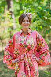 """Oriental Delight"" kaftan in Rosy Red Posy"