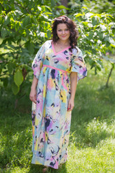 """Breezy Bohemian"" kaftan in Flamingo Watercolor pattern"