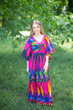 """Breezy Bohemian"" kaftan in Glowing Flame pattern"