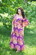 """Breezy Bohemian"" kaftan in Rosy Red Posy pattern"