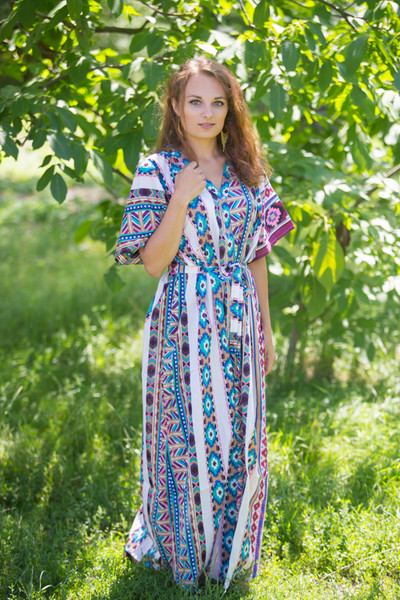 """Best of both the worlds"" kaftan in Aztec Geometric pattern"