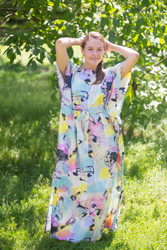 """Divinely Simple"" kaftan in Flamingo Watercolor pattern"