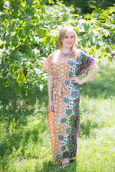 """Divinely Simple"" kaftan in Floral Bordered pattern"