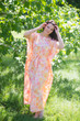 """Divinely Simple"" kaftan in Ombre Fading Leaves pattern"