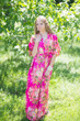 """Best of both the worlds"" kaftan in Rosy Red Posy pattern"