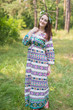 """Button me down"" kaftan in Aztec Geometric pattern"
